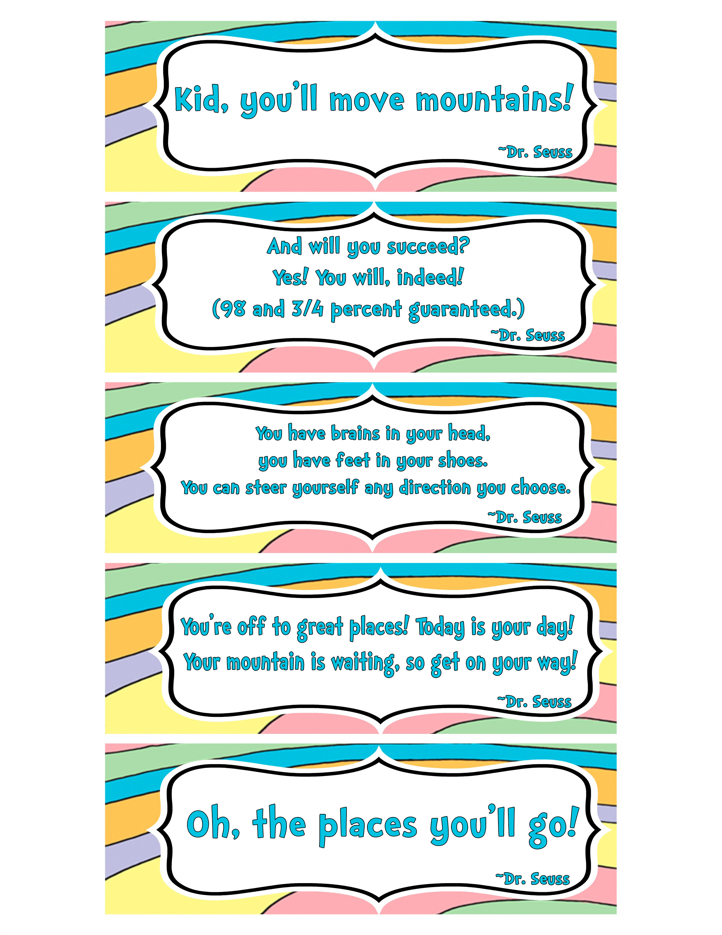photo regarding Dr Seuss Printable Bookmarks named Printable Bookmarks with Famed Quotations towards \